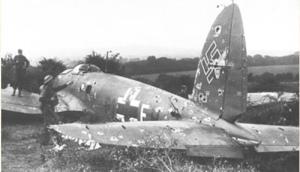 Bombardero alemán Heinkel He 111 derribado.