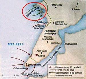 mapa de la zona de operaciones de Gallípoli