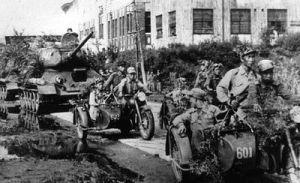 Convoy de soldados norcoreanos.