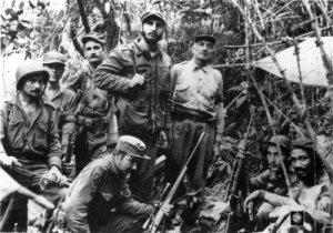 Fidel Castro y sus guerrilleros en Sierra Maestra.