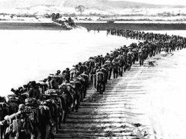 Soldados surcoreanos partiendo al frente.