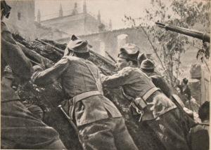 Milicianos parapetados cerca del Alcazar
