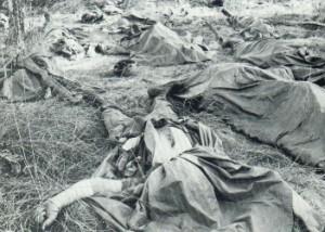Cuerpos sin vida de soldados estadounidenses.