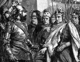 Cuauhtémoc se entrega a Hernán Cortés.