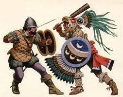 Rodelero español luchando contra un guerrero azteca.