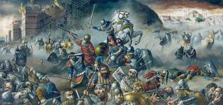 El emperador Constantino XI luchando contra los musulmanes.
