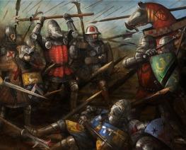 soldados y caballeros ingleses contra caballeros franceses.