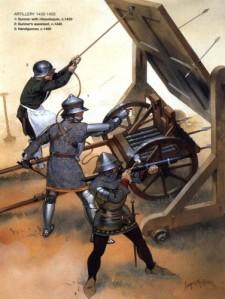 Esta batalla fue la primera en la que las piezas de artillería tendrían un facto clave. La pólvora y estas nuevas armas romperán con el esquema medieval vigente hasta ahora.
