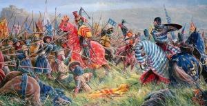 Carga de caballería pesada contras las líneas escocesas en Bannockburn