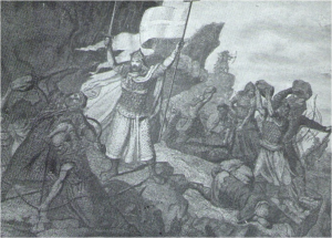 Don Pelayo arengando a sus soldados que lanzan flechas y piedras contra sus enemigos.