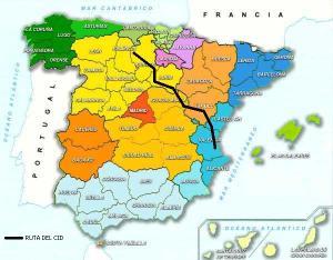 Mapa que muestra el recorrido que hizo El Cid