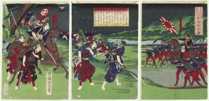 Samuráis luchando contra las tropas del gobierno.