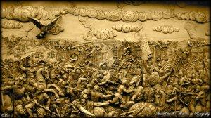 Relieve que representa la batalla de Gaugamela.