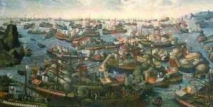 Pintura sobre la Batalla de Lepanto. 1571