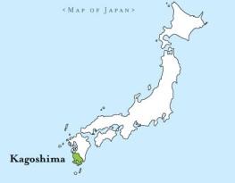 Mapa que muestra donde estaba situado el Dominio de Satsuma.