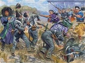 """Mujeres """"Samuráis"""" luchando contra las tropas imperiales."""