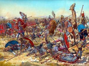 Soldados romanos luchan contra la caballería pesada cartaginesa.