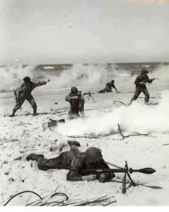Soldados entrenando con el AR-10.  Este fusil presentaba multitud de añadidos, como granadas, miras telescópicas y la opción de usarse como ametralladora ligera.