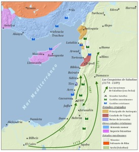 Mapa que muestra las conquistas de Saladino I, sultán de Siria y Egipto.