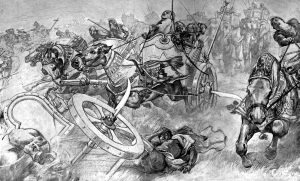 The_Charge_of_Persian_scythed_chariots_at_the_Battle_of_Gaugamela_by_Andre_Castaigne_1898-1899.