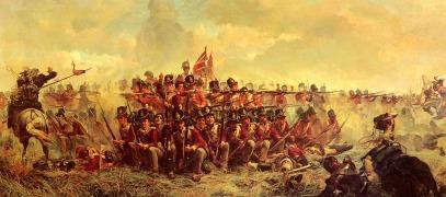 Soldados ingleses en posiciona defensiva contra el ataque de caballería francés-