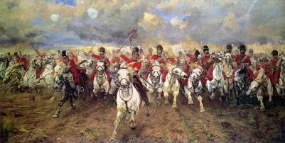 Carga de caballería británica contra las filas francesas.
