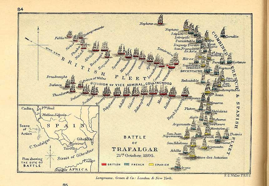 Batalla De Trafalgar Mapa.La Batalla De Trafalgar 1805 Historia Belica