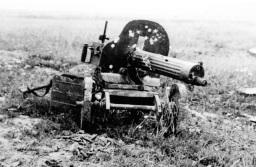 Ametralladora Maxim M1910 dañada durante un combate. A veces su escudo no era eficaz contra el fuego de armas ligeras.