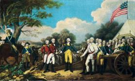 Rendición del general Burgoyne en Saratoga.