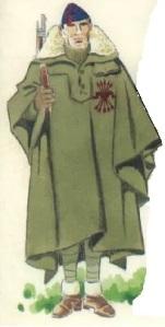 (3) Falangista con capote-manta.