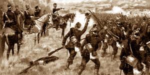 Soldados prusianos avanzado hacia la batalla.