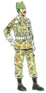 (2) Oficial en Uniforme Mimetizado de Campaña para Formación.