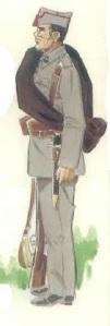(3) Soldado de Infantería de Marina en uniforme de maniobras.