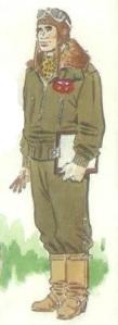 (4) Teniente en traje de vuelo.
