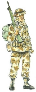 (6) Legionario con Uniforme Mimetizado para Terreno Árido.