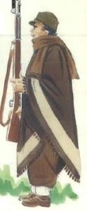 (6) Miliciano en campaña en invierno.