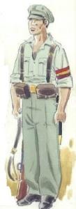 (2) Carabinero en uniforme de campaña.