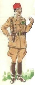 (1) Teniente del grupo de Ceuta nº3 en uniforme de servicio y campaña.
