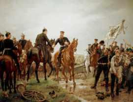 Pintura que representa el final de la batalla. El día 12 de agosto de 1866 se firma el armisticio, por el que Austria no volverá a entrometerse en los asuntos prusianos.