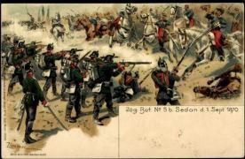 Soldados sajones (Alemania) repelen una carga de caballería francesa.