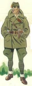 (1) Teniente Coronel habilitado en uniforme de campaña, en invierno.