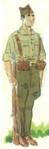 (2) Soldado en uniforme de servicio de armas, en verano.