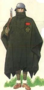 (4) Cabo en uniforme de campaña con Capote-Manta.