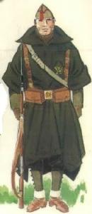 (5) Soldado en uniforme de campaña con capote-manta.