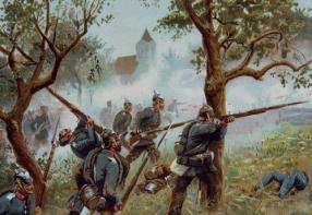 Soldados prusianos combatiendo en un bosque.