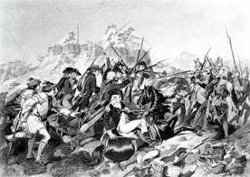 Tropas estadounidenses avanzando contra las posiciones británicas.