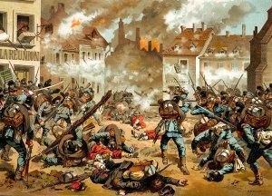 Combate entre soldados franceses y alemanes cerca de Sedan.