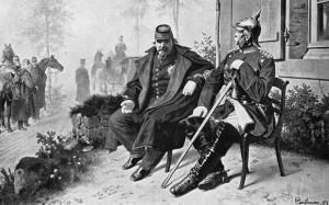 Napoleón III y el canciller Bismarck reunidos tras la batalla.