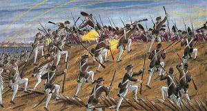 Otra pintura sobre el asalto americano a posiciones inglesas.