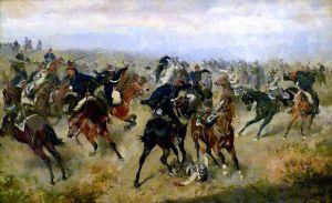 Gefecht_zwischen_k.k._Husaren_und_preußischen_Kürassieren_in_der_Schlacht_von_Königgrätz_(A._Bensa_1866)